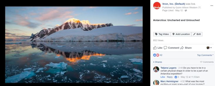 To showcase the beautiful images collected while an Itron employee was on her expedition to Antarctica, I arranged a Facebook Live interview so that she could tell her impactful story. Original post: https://www.facebook.com/ItronInc/videos/vb.165991809033/10155186396079034/?type=2&theater
